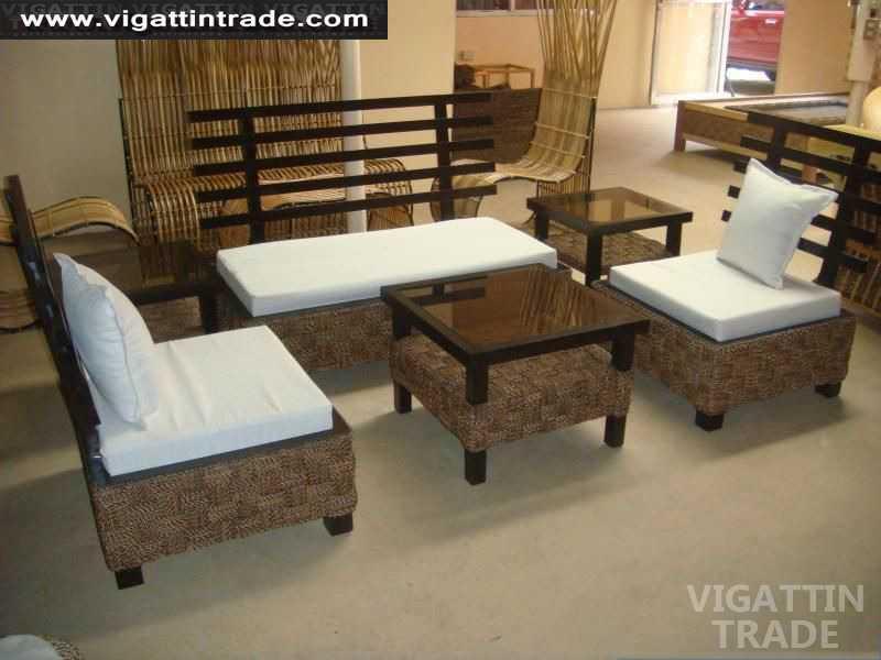 Modern wood abaca sofa furniture sala set wood sofa rattan for Sala set for sale