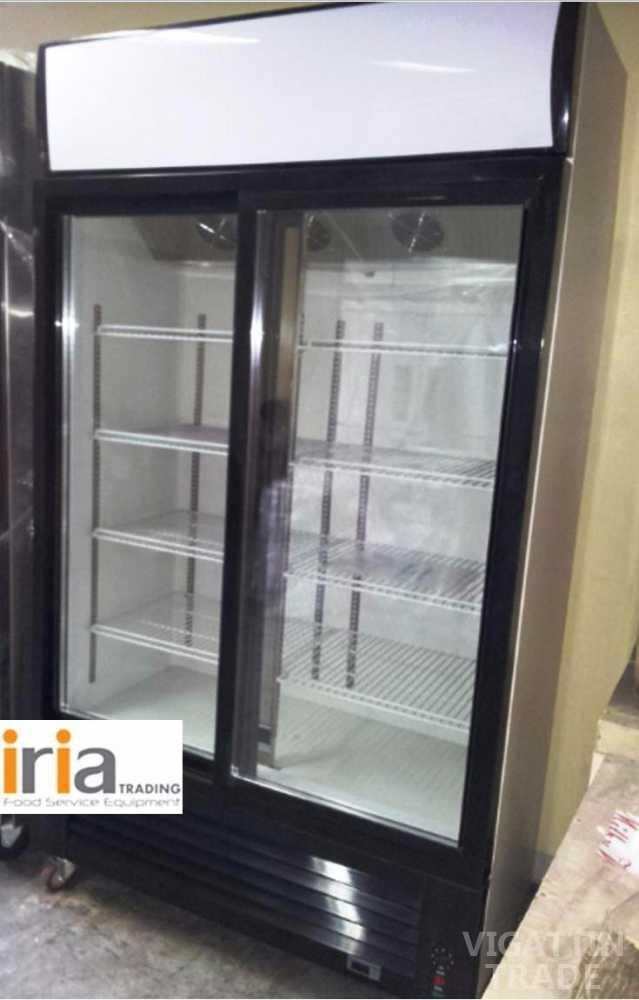 Upright chiller display showcase 2 doors vigattin trade for 1 door display chiller